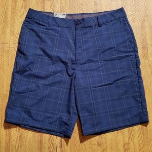 Under Armour Blue Plaid Golf Shorts Size 38 Waist